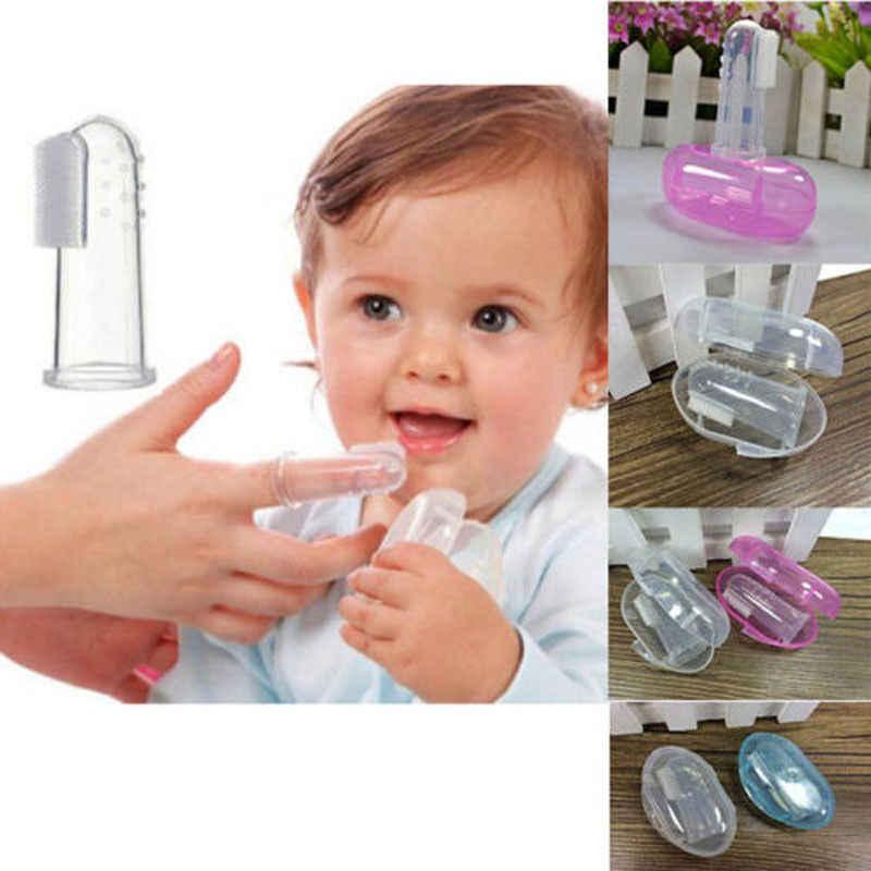 1PCS Dedo Trem Conjunto Escova de Dentes Da Criança Recém-nascidos Do Bebê Conveniente Durável escova de Dentes Portátil Com Caso de Acessórios Para Bebé