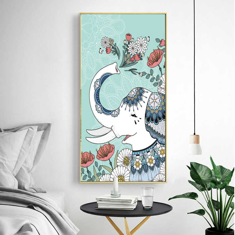 Canvas Painting Watercolor Print Nordic Religious Colorful Elephant with Flower Wall Pictures for Living Room Quadro Home Decor