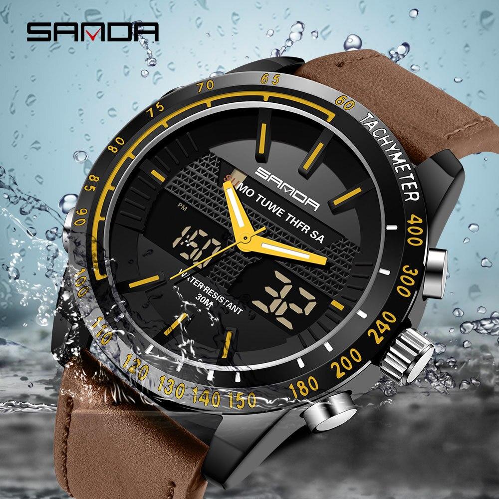Sanda Mannen Lederen Horloge Dual Display Multifunctionele LED Digitale Elektronische  Waterdicht Horloges reloj hombre digitale