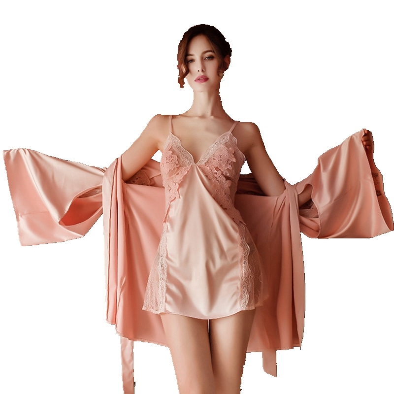 2Pcs Women Pijamas Dress Silk Robe Lingerie Dress Set Floral Embroidery Sleepwear Sets Bathrobe Night Dress Nightgowns Pink Lace