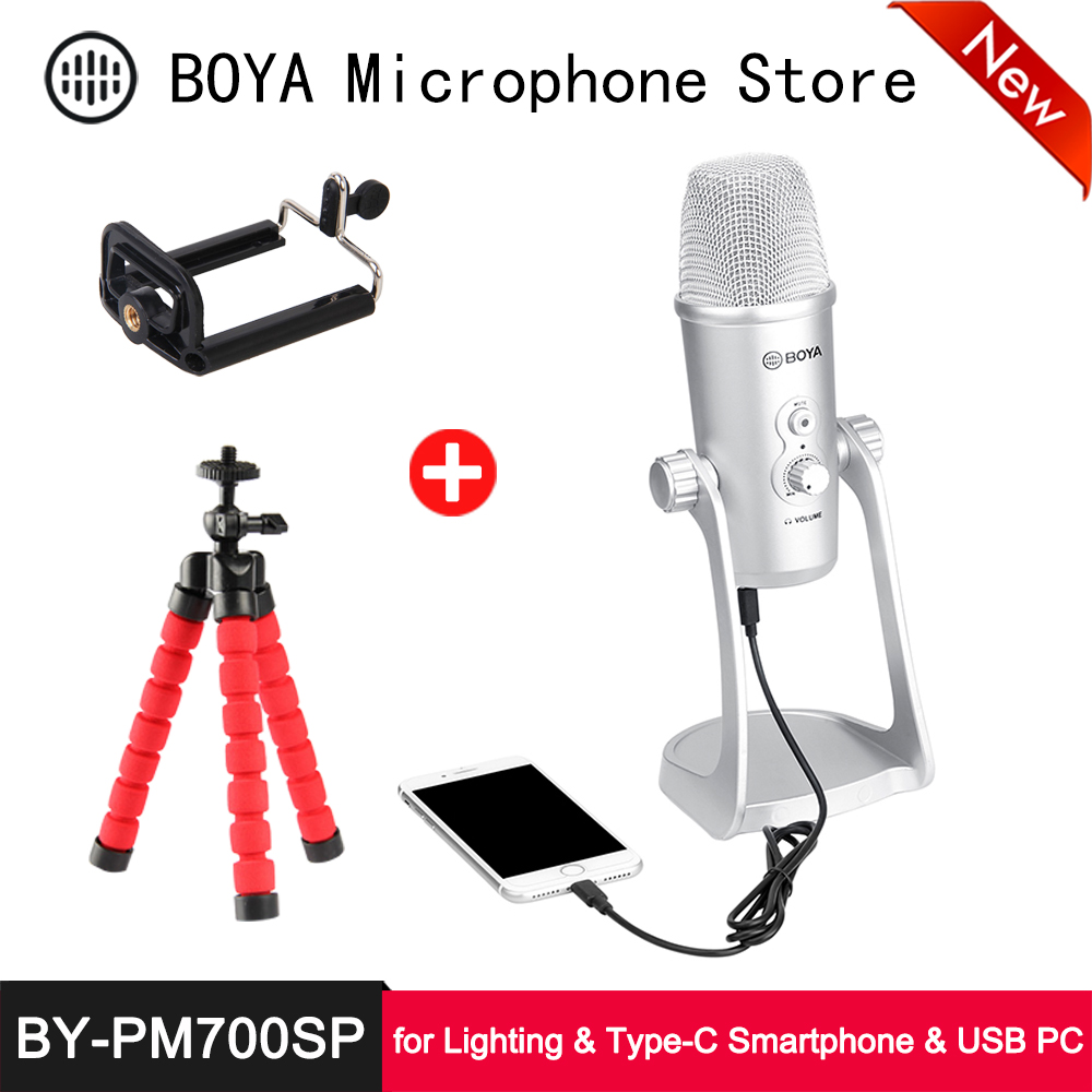 BOYA Digital Cardioid Handheld Microphone Compatible with iOS Android Smartphone Mac Pc
