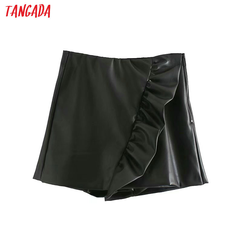 Tangada Women Ruffles Pu Leather Skirt Shorts Black New Arrival Pockets Female High Waist Ladies Casual Shorts 4M132
