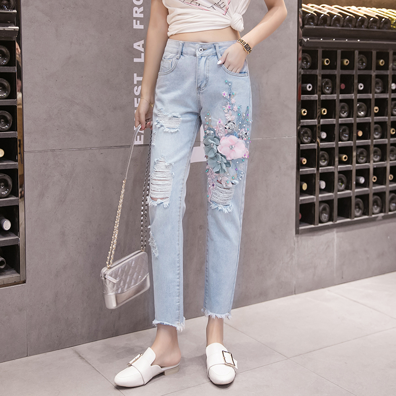 3D Flowers Ripped Women Jeans Pants 2020 Vintage Embroidered Sequins Hole Loose Casual Femme Denim Trousers 2137