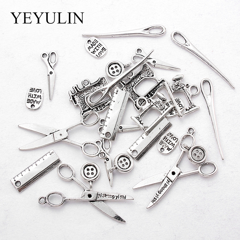 20pcs/lot Mixed Alloy Charms Silver Color Scissors Ruler Button Pendants Jewelry Findings For DIY Handmade Jewelry Making