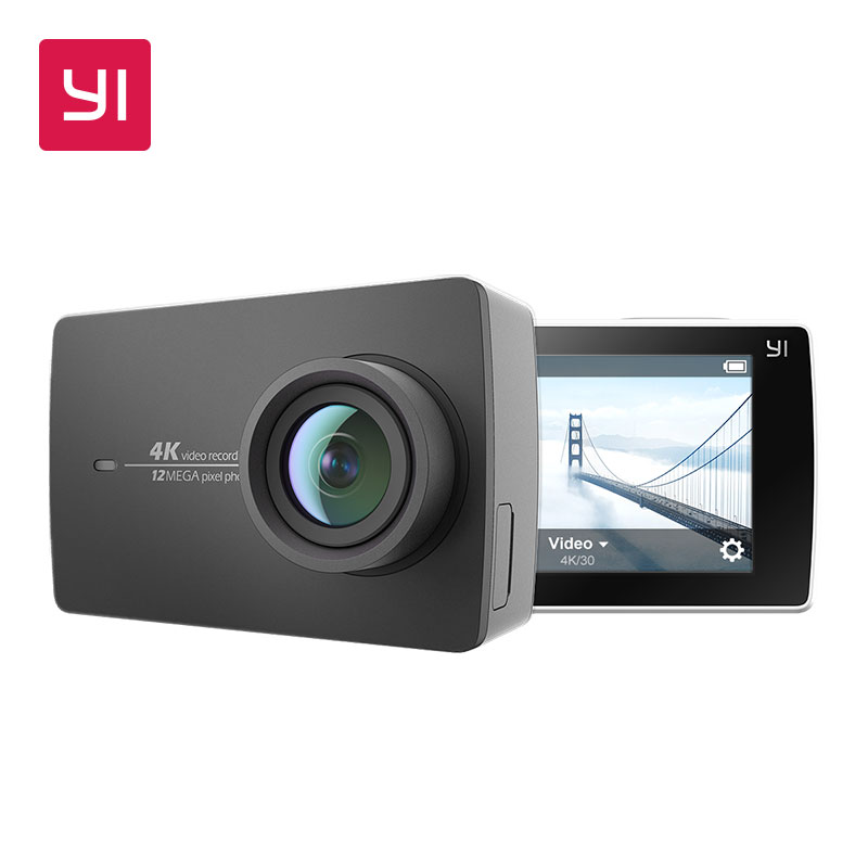 YI 4K Action Camera Ambarella A9SE Cortex-A9 ARM 12MP CMOS 2.19'' 155 Degree EIS LDC WIFI Sports Camera Black White