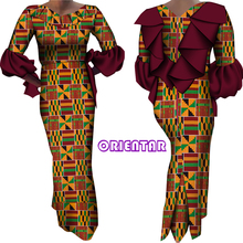 Ankara Fashion Women Dresses African Print V-neck Dress Flare Sleeve Lady Dashiki Party Dress Ruffle African Dresses WY9150