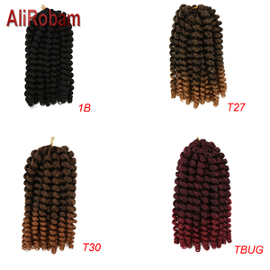 Image 4 - AliRobam Crochet Braids Short Jamaican Bounce Hair Black Wand Curl Black Woman Synthetic Braiding Hair Extensions 20 roots/pack