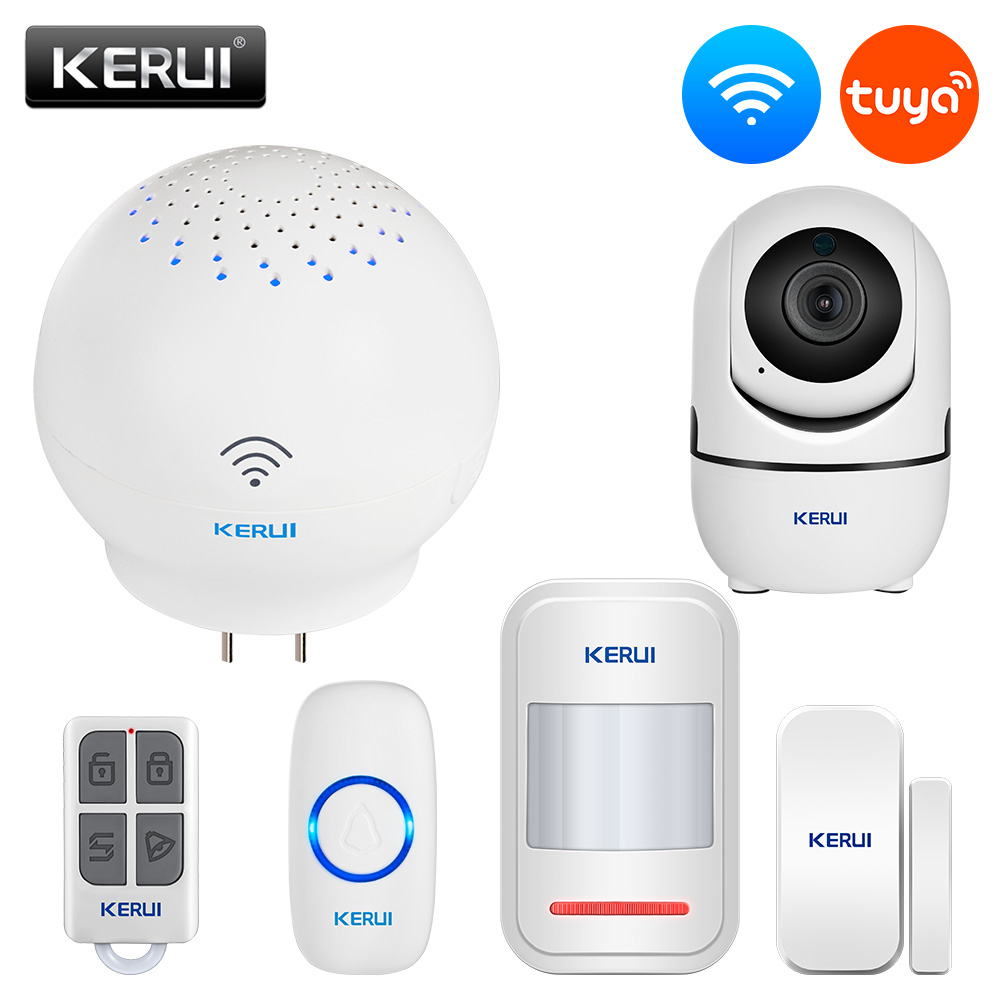 KERUI Tuya Gateway Alarm System Intelligent Linkage Door Sensor Smart Doorbell