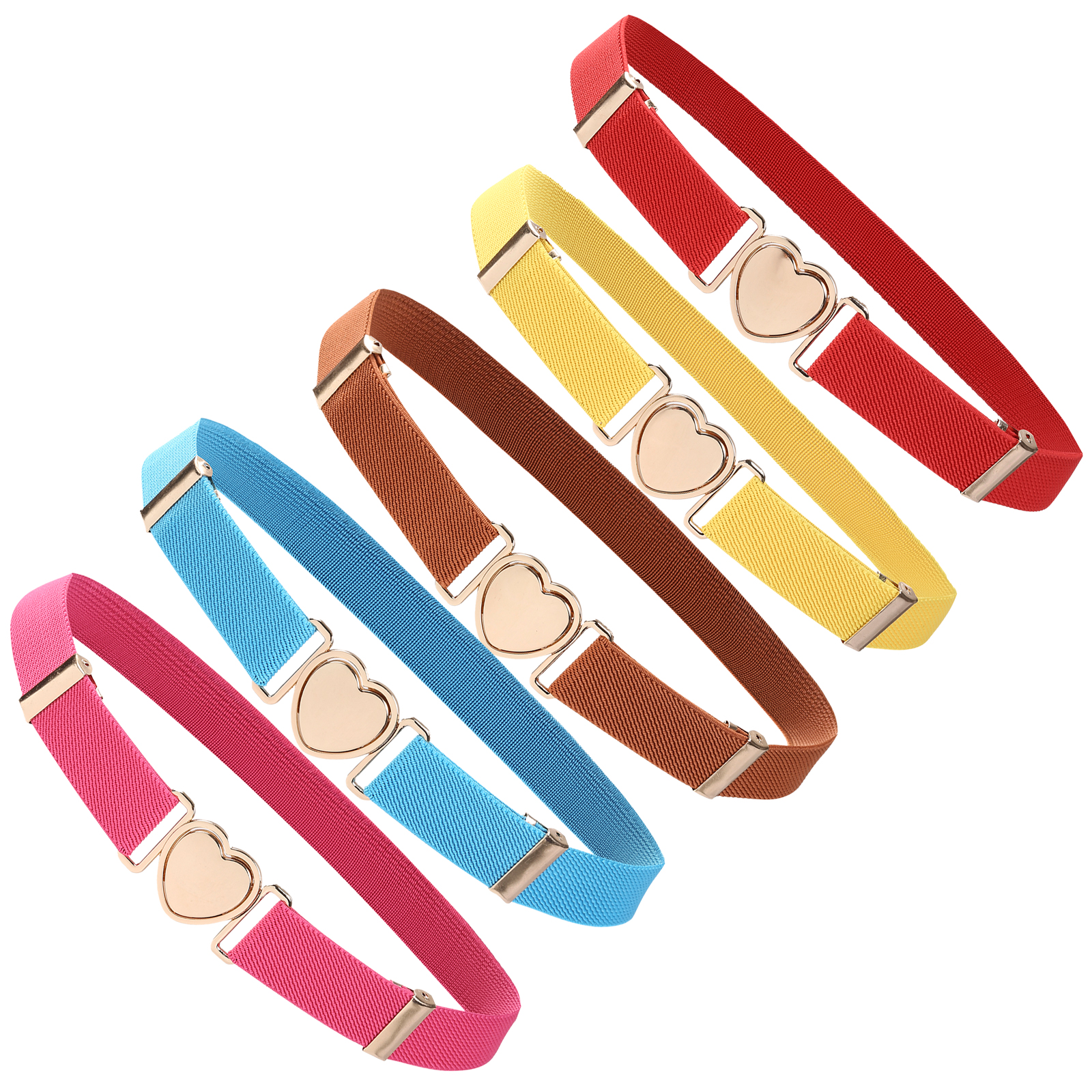 2021 New Style Children Stretch Belts Girls Multicolor Adjustable Elastic Waist Belts with Heart Shape Buckle for Dress Pants