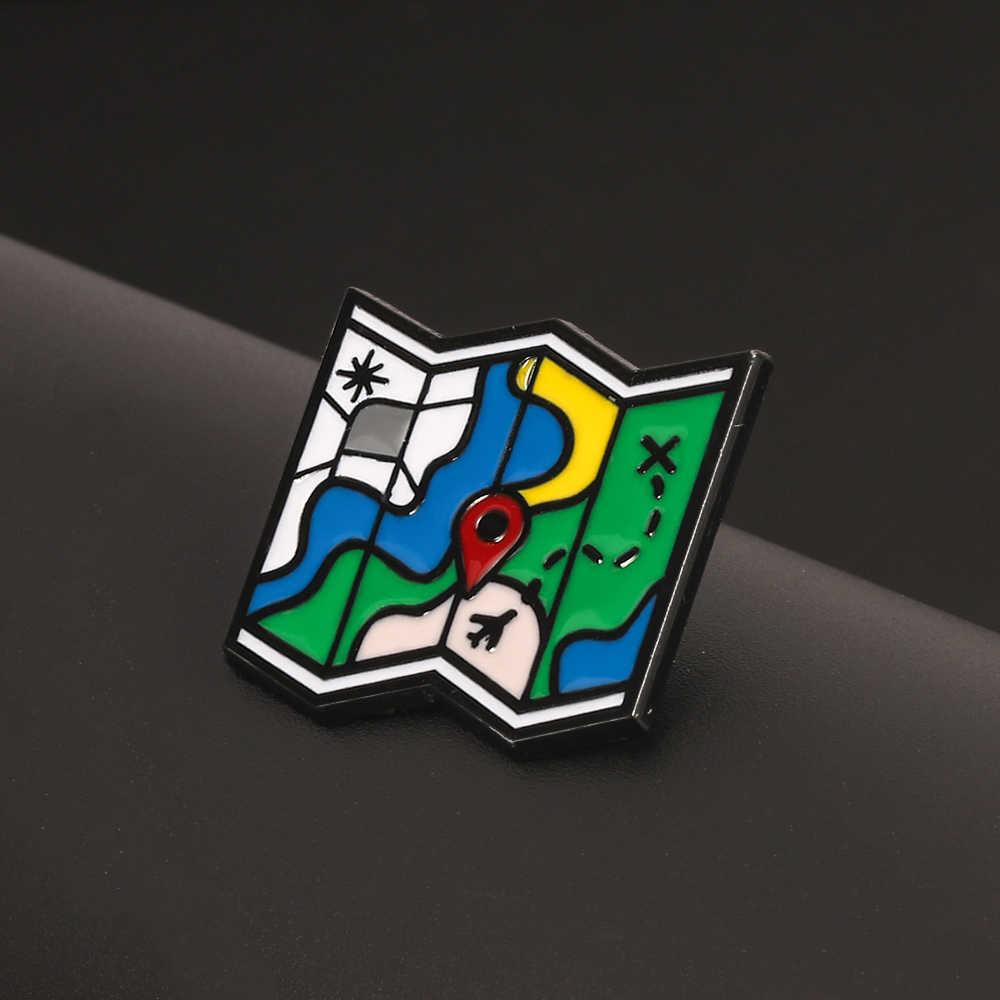 צבעוני נסיעות מפת דש פין מקופל נסיעות מסלול אנימה אמייל פין תכשיטים מתנות לגברים נשים