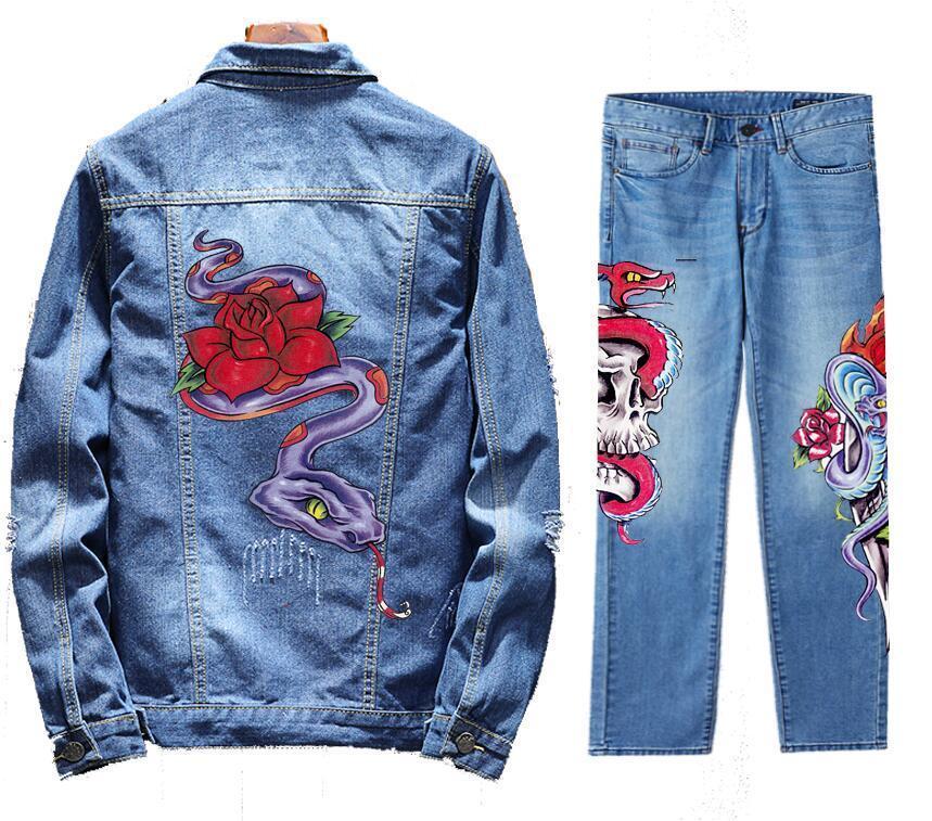 Men's Retro Destroyed Coat Jean Denim Jacket Outerwear Pants Trousers Set Snake Coat Blue 2PC