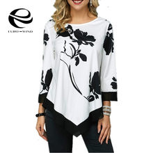 Plus Size 5XL Women Tops and Blouse 2019 New Autumn Long Sleeve Print O-neck Blouses Shirts Female Casual Loose Top Basic Blusas(China)