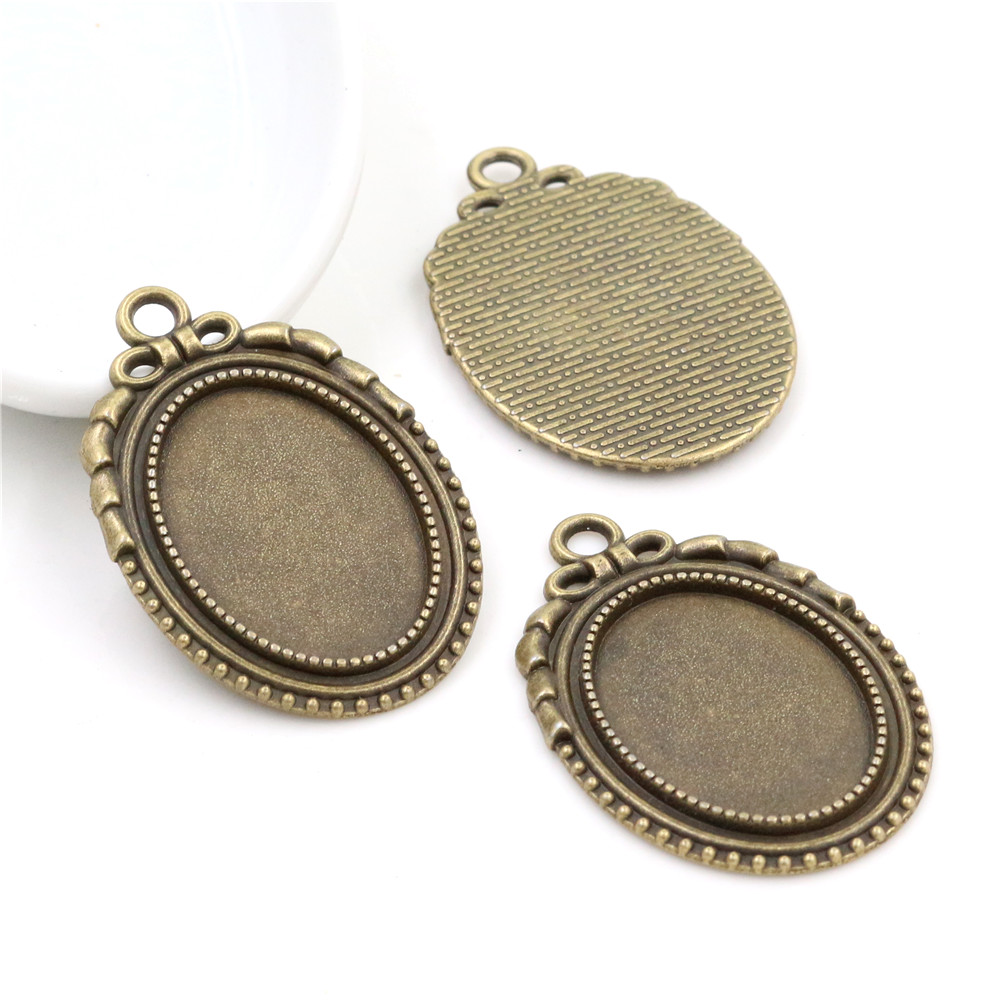 4pcs 18x25mm Inner Size Antique Bronze Flowers Style Cameo Cabochon Base Setting Charms Pendant Necklace Findings (C3-20)