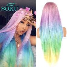 Ombre rose bleu perruques colorées longues perruques avant de dentelle synthétique pour les femmes noires Halloween droite/ondulé arc-en-ciel Cosplay perruque de dentelle
