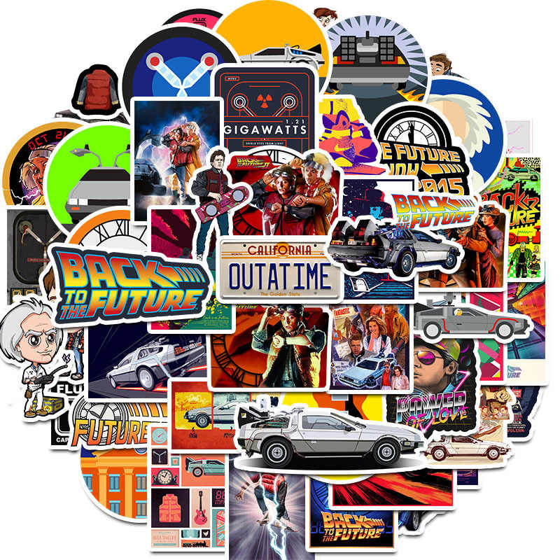 50Pcs Movie Back To The Future Stickers Pack For On The Laptop Fridge Phone Skateboard Travel Suitcase Sticker
