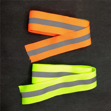3 meter Luminous stripe Ribbon Reflective Webbing Weaving Piping Taps Fabric safety Clothing sewing accessories lime/Orange(China)