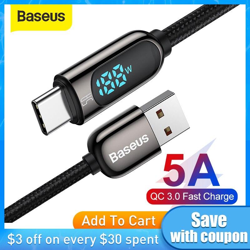 Baseus 5A USB C Kabel für Xiaomi Red mi hinweis 9 Schnelle Ladegerät Kabel mit Digital Spannung Led-anzeige USB typ C Kabel für Samsung