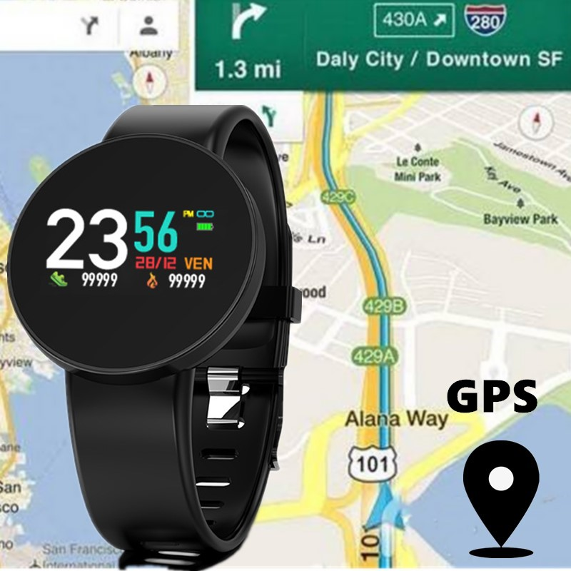 Fitness <font><b>Tracker</b></font> <font><b>Gps</b></font> Bluetooth Heart Rate Monitor Touchscreen Smart Uhr Android Ios Kompatibel Unterricht In Englisch Rose image