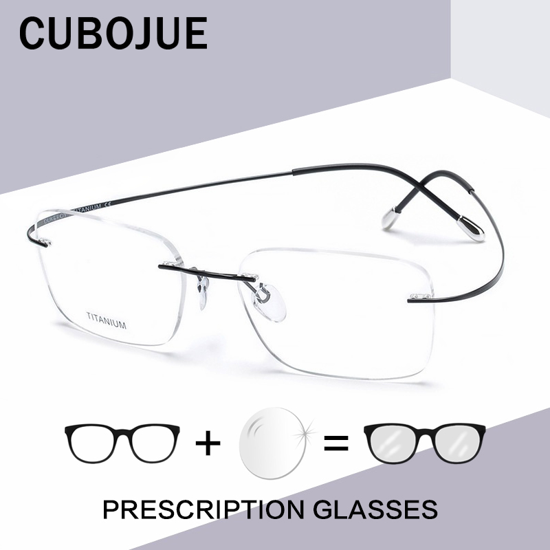 Cubojue 146mm Titanium Glasses Men Women Wide Rimless Male Myopia Optical Prescription Foldable Progressive Anti Blue Light Man