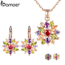 BAMOER Luxury Gold Color Flower Bridal Jewelry Sets & More For Women Wedding with Colorful Cubic Zircon Engagement Jewelry(China)