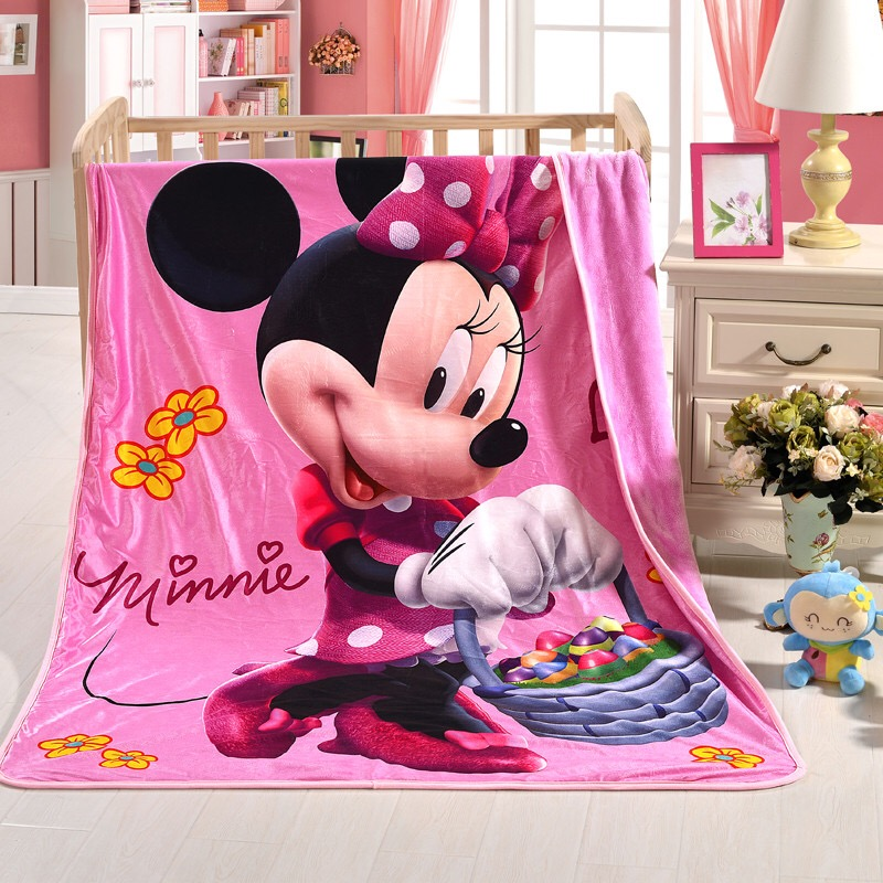 Authorized Disney Blue Mickey and Pink Minnie Blanket for Kids Girl Thin Quilt Cartoon Bedspread Fleece Throw Blankets 150x200cm image