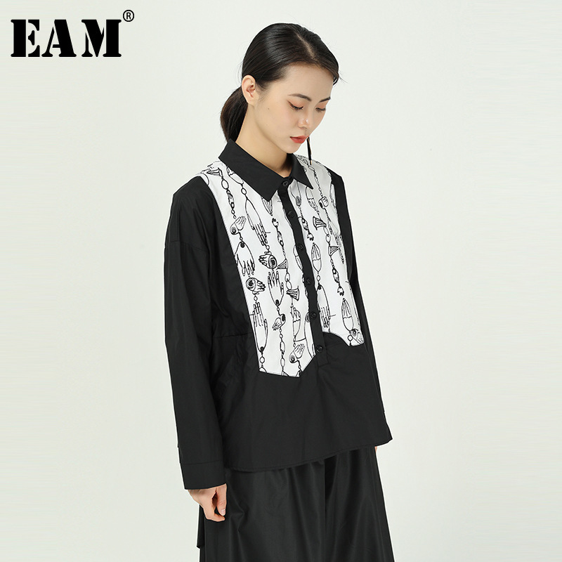 [EAM] Women Black Pattern Printed Big Size Blouse New Lapel Long Sleeve Loose Fit Shirt Fashion Tide Spring Autumn 2020 1R843