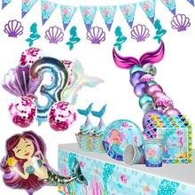 MEIDDING Mermaid Party Mermaid Birthday Tail Balloons Garland Girl Party Decoration Under The Sea Beach Wedding Baloon Supplies