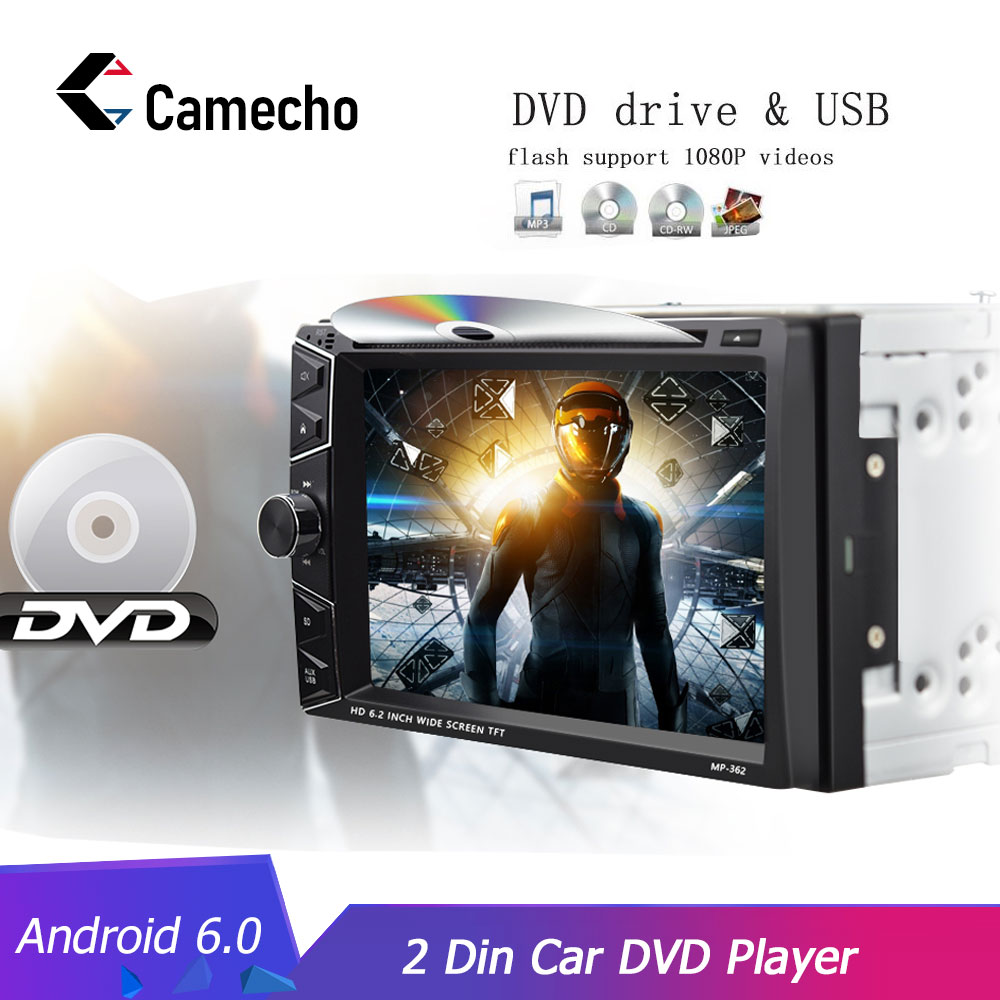 Camecho Android 6.0 Quad Core Auto DVD GPS Navigation 2 din Multimedia <font><b>Player</b></font> Audio Stereo 1G 16G WIFI für carplay Android telefon image