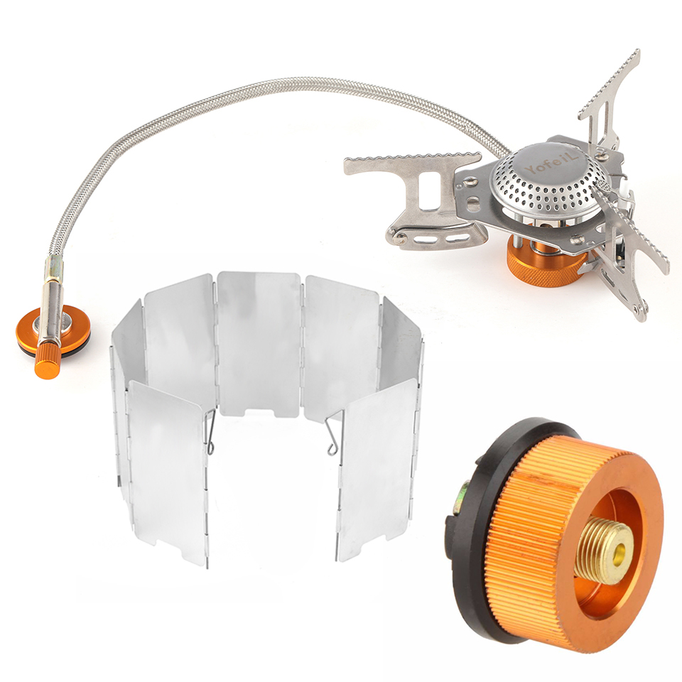 Outdoor Camping Portable Gas Cooker Stove For Camping Hiking Accessories Adapter For Filling Gas Cylinders Alloy Windshield