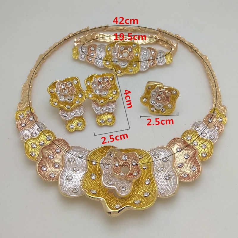 Kingdom Ma, nuevo, Dubai, collar de cristal, pulsera, pendientes, anillos, conjuntos de anillos, boda nigeriana, traje africano, conjunto de joyería