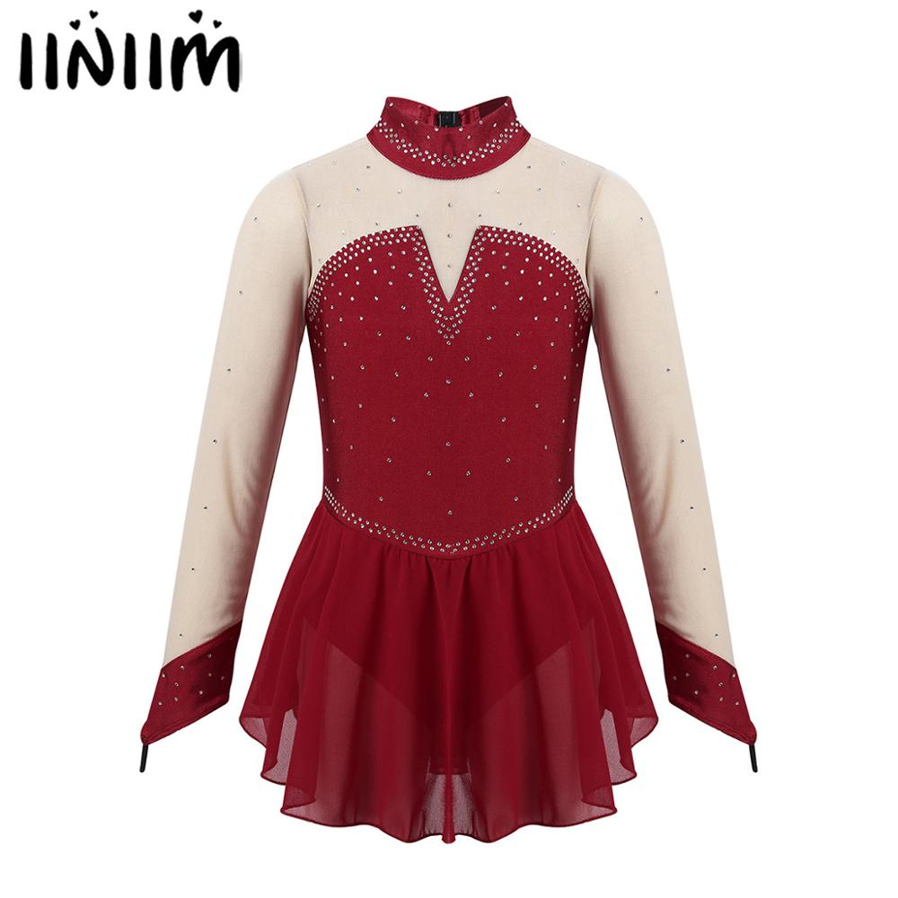 Iiniim Kids Girls Sparkly Rhinestone Tulle Splice Keyhole Back Figure Skating Ice Skate Ballet Dance Gymnastics Leotard Dress