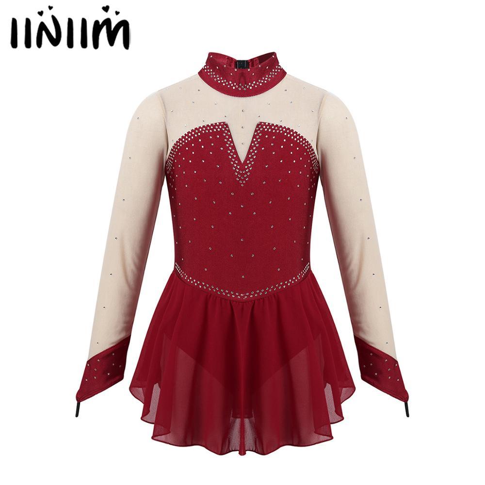 Iiniim Kids Girls Sparkly Rhinestone Tulle Splice Keyhole Back Figure Skating Ice Skate Ballet Dance Gymnastics Leotard Dress