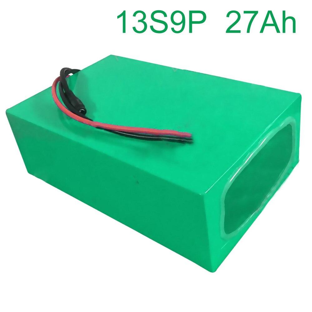 48V 27Ah 13S9P 18650 Li-ion batterie Pack e-bike Ebike vélo électrique 255*175*70mm accepter la personnalisation