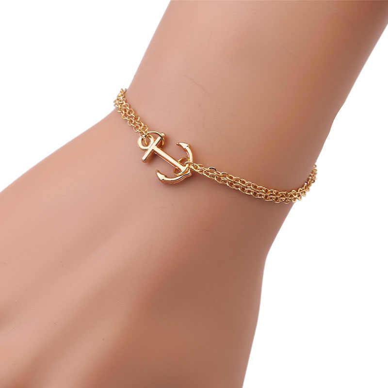 עורכים זהב צמיד עוגן בציר תכשיטי שרשרת צמיד לנשים צמידי רטרו הפרזה צמידים