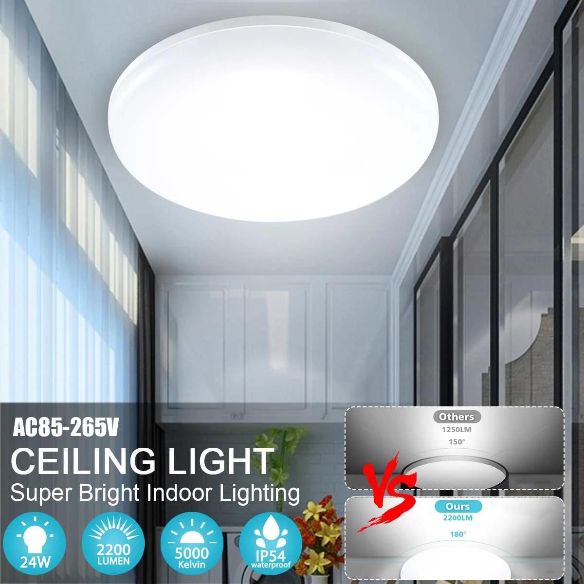LED Ceiling Light 24W 2200LM 23CM Round Panel Light Fixture Chandelier Home Room Decor For Bathroom Kitchen Living Room Lighting