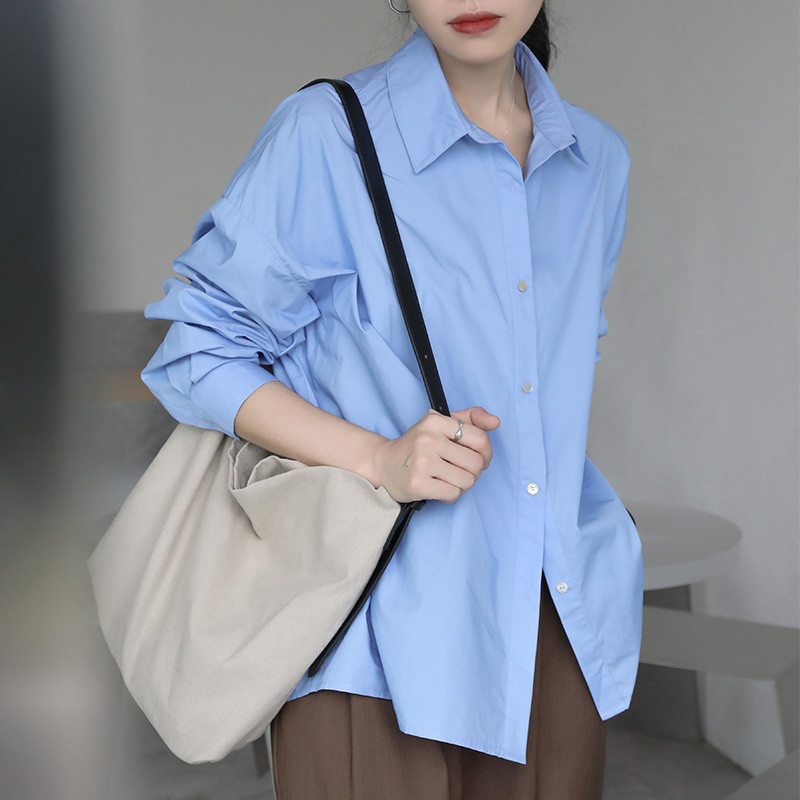 2021 Spring Summer Women Blouse Korean Long Sleeve Womens Tops Blouses  Solid Loose Women Shirts Blusas Roupa Feminina Tops 8