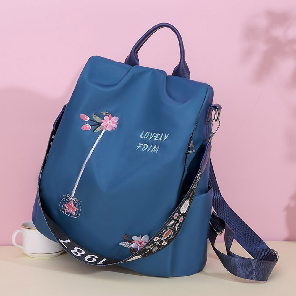 Casual Oxford Cloth Backpack Flower Embroidered Shoulder School Book Bags Women Daily Travel Anti Theft Bagpack Rucksack