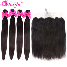 Peruvian Straight Hair Human Bundles With Closure Remy Lace Frontal Aatifa 3