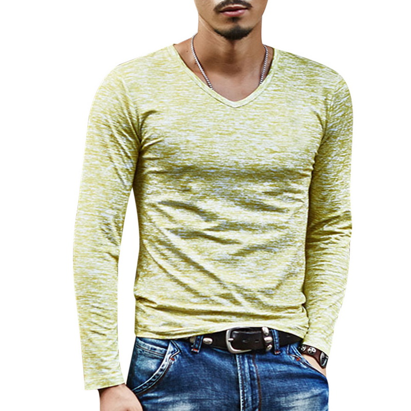 2020 Spring Men T-shirt Long Sleeve T Shirt Men Slim Basic Tops Tee Men Clothing Summer V Neck Top Tees Shirts Plus Size 3XL 3