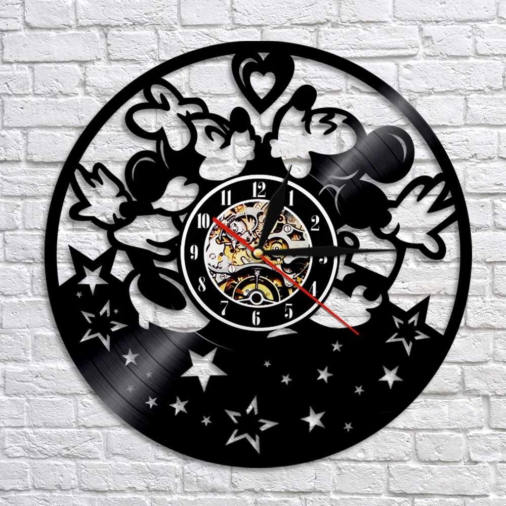 Record Wall Clock Vinyl Wall Clock Kiss Mickey Mouse Clock MICKEY Mouse Vinyl Clock