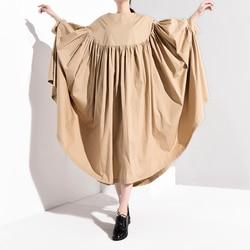 [EAM] Women Oversize Pleated Big Hem Dress New Round Neck Three-quarter Sleeve Loose Fit Fashion Tide Spring Autumn 2019 1A456 3