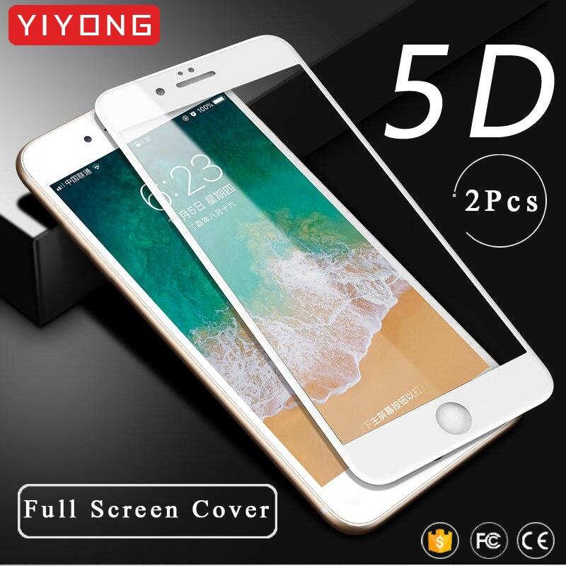 YIYONG Vidro Temperado Para o iphone 6 6s 7 8 Além de Cobertura Completa Para o iphone SE 2020 5D xr xs Max Vidro Protetor de Tela Para o iphone x s