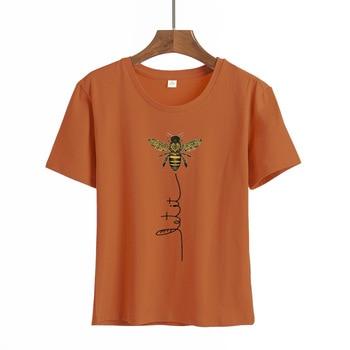 Amiseta de talla grande para mujer with estampado de abeja... S-3XL... 100%...