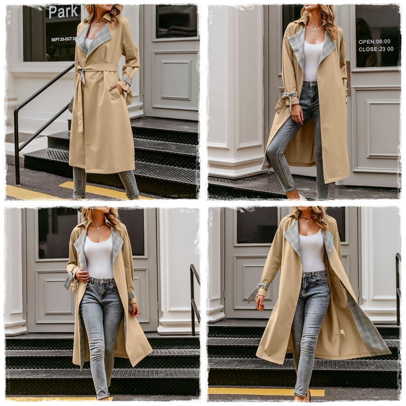 Turmeric Elegant trench Khaki coat autumn winter coat women Casual plaid long overcoats Vintage stitching outwear Office coat 4