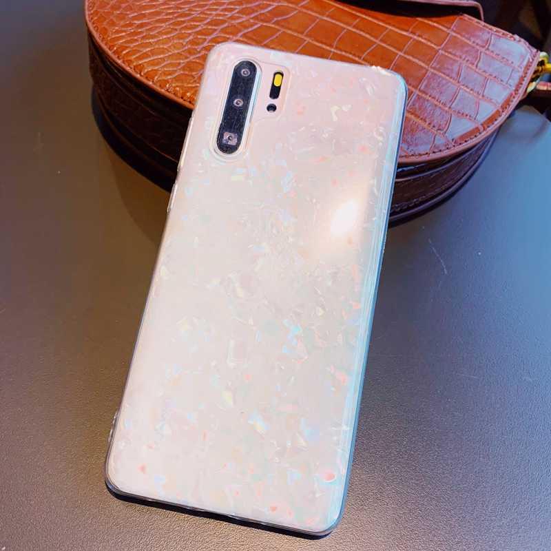 ブリンブリンスパンコールシェルパターンクリアソフト TPU ケースカバー Huawei 社 P20 P30 メイト 10 20 ノヴァ 3 3i 4 4e 5 名誉 8A 9 9 × 10 20 プロキャパ