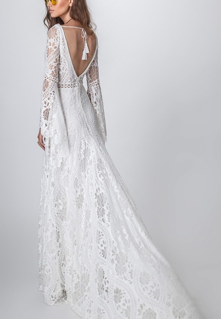 803#2021 New Design Long Lantern Sleeve Empire V-Neck Backless Small Train Beauty Backless Lace Boho Beach Wedding Dresses Women 2
