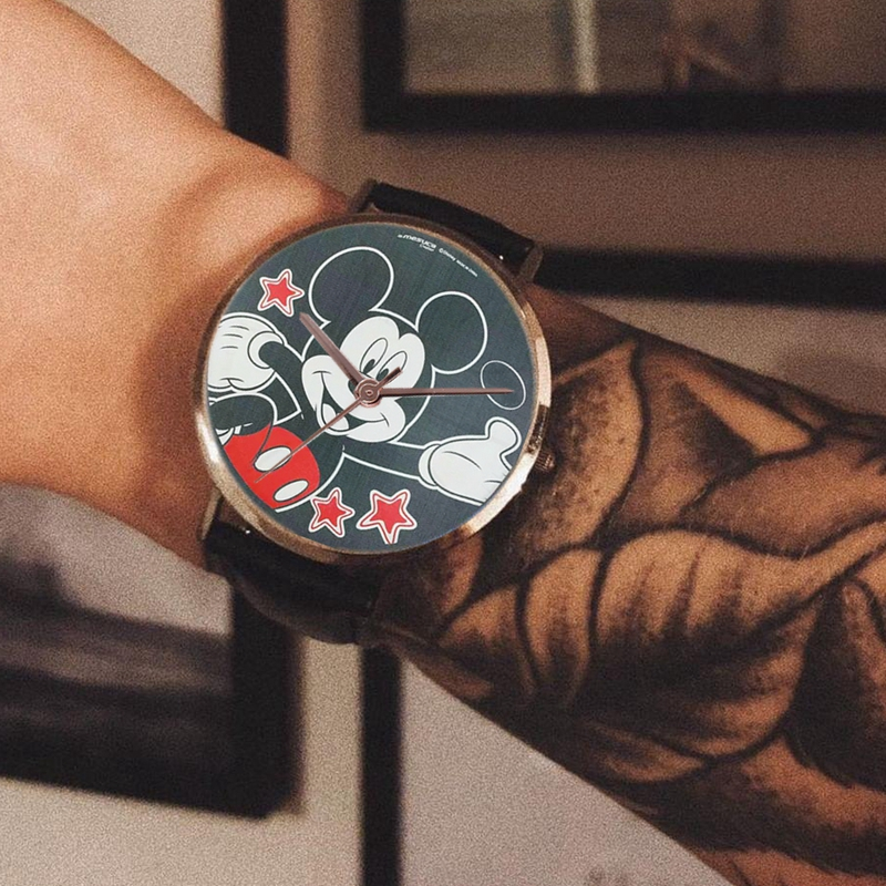 Mickey Kids Watch Quartz Wristwatches Leather Fashion Gift Child Clock
