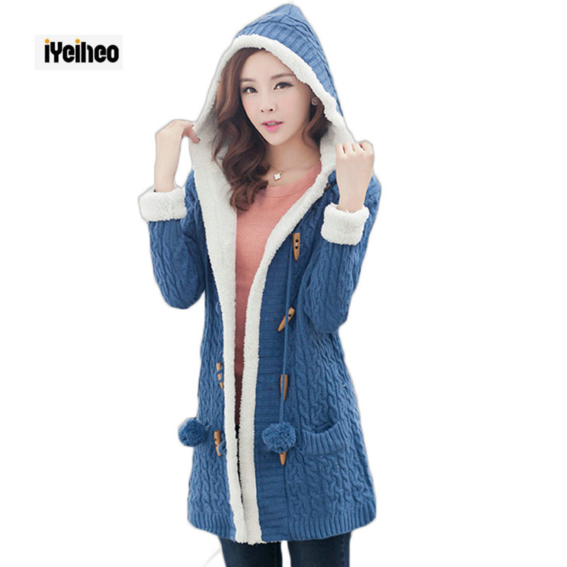 New Arrival Girl Sweater Coat Winter 2019 Autumn Casual Solid Hooded Long Thicker Cashmere Knit Cardigan Sweater Jacket Students