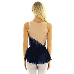 Image 3 - Tiaobug Donne Senza Maniche Shiny Strass Maglia di Pattinaggio di Figura Vestito di Ginnastica Body Balletto di Danza Usura di Prestazione Del Costume