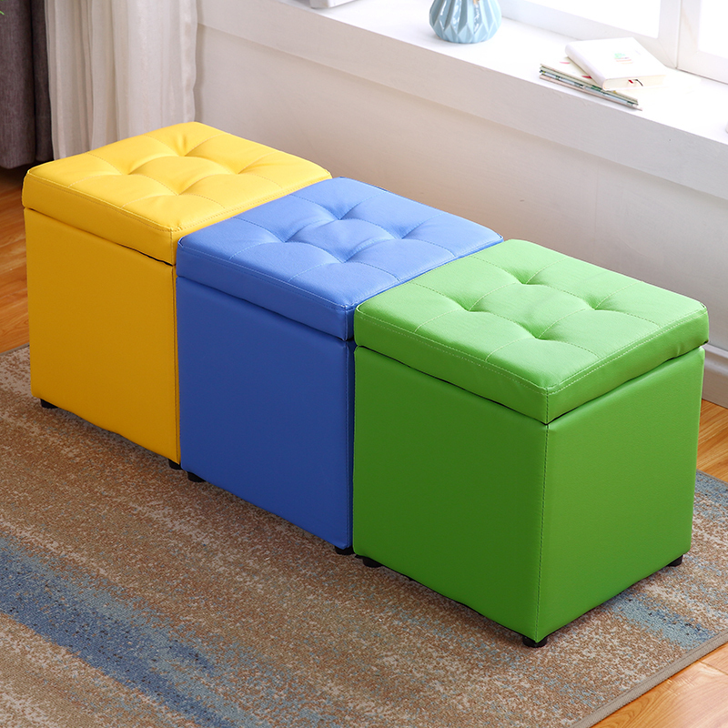 Kid's storage stool modern sofa fashionable bench creative storage bench kids furniture vanity stools Synthetic Leather ottomans